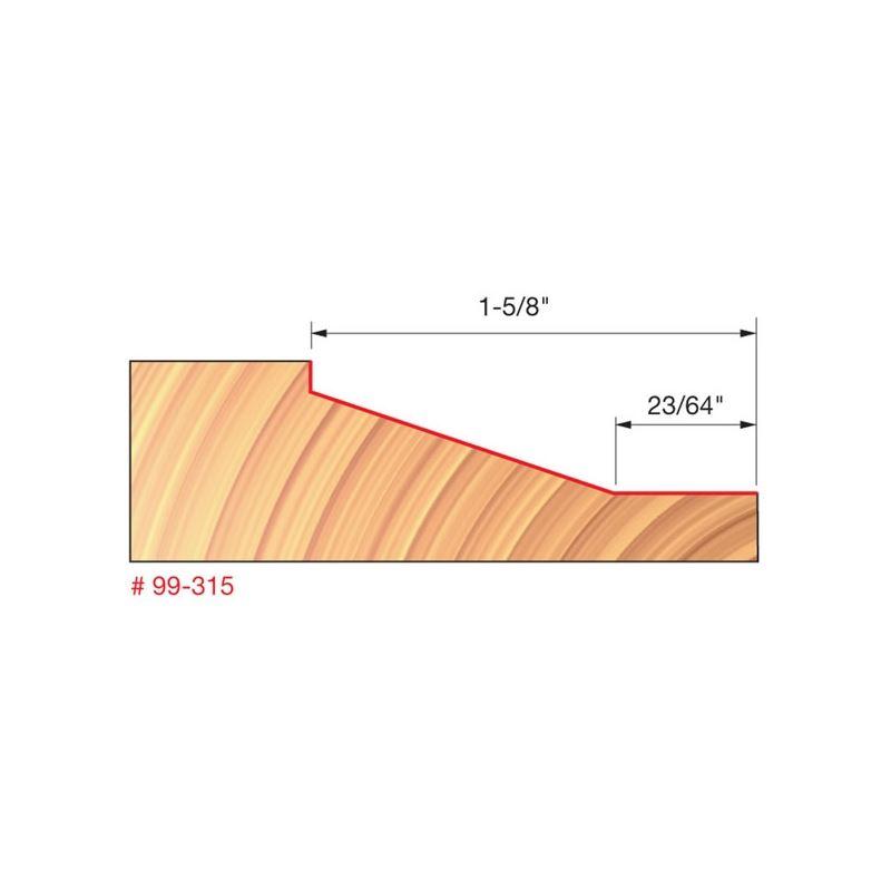 Vertical Raised Panel Bit with 1//2 Shank Freud 1-1//2 Dia. 99-315